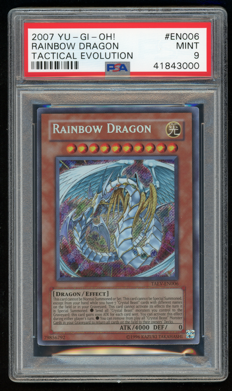 2007 YU-GI-Oh  TAEV-EN006 Rainbow Dragon-PSA 9 MINT-Secret Rare-POP 1 1 1  f491b1