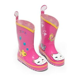 Kidorable Girls Pink Lucky Cat Print Lined Rubber Rain