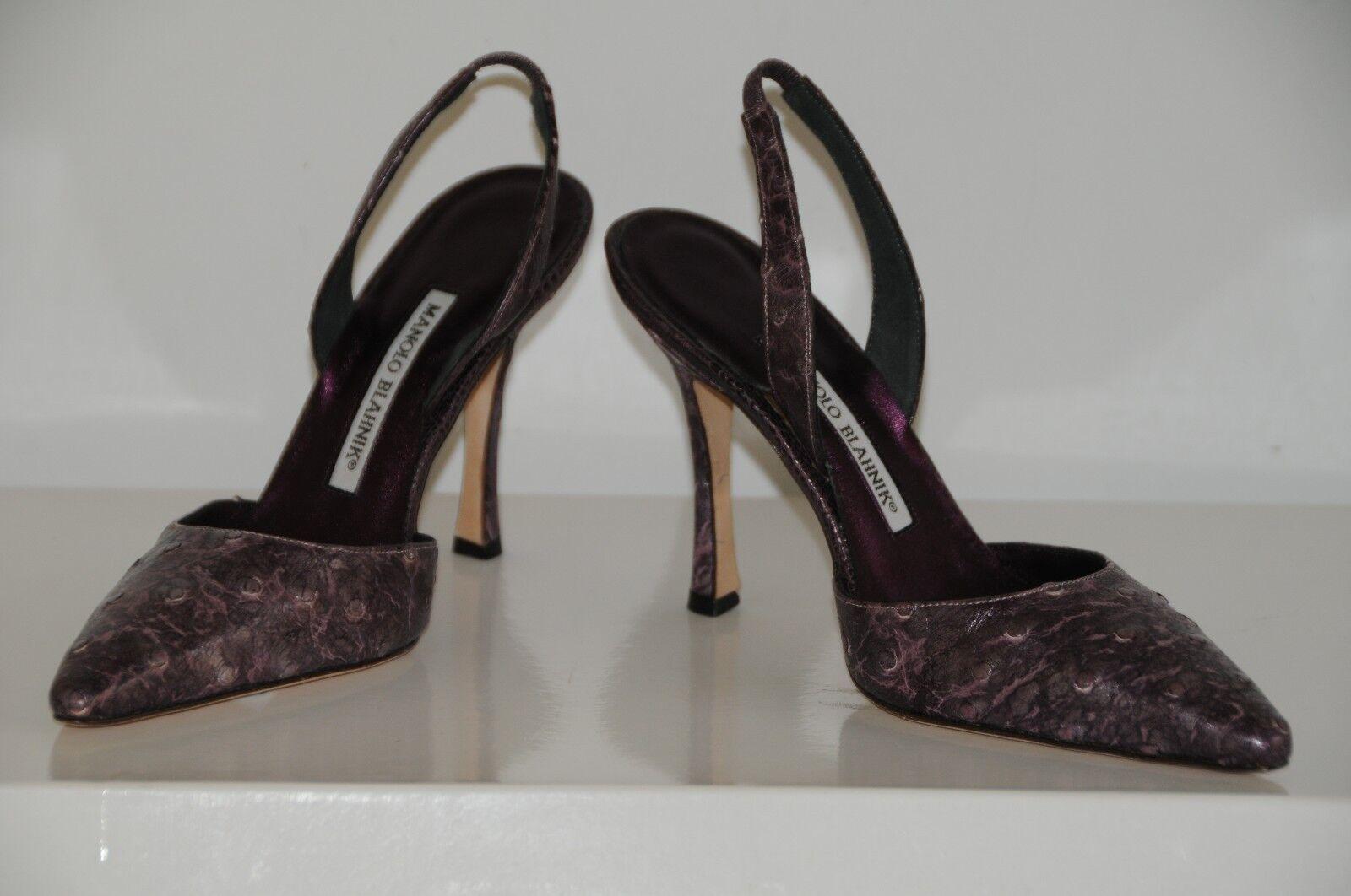 1200 NEW NEW NEW MANOLO BLAHNIK Carolyne Amebo Purple OSTRICH SKINS Slingback SHOES 37 902f9c