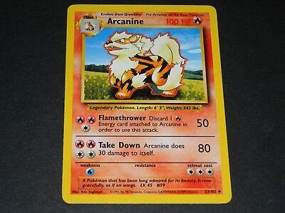 1999 Pokémon Base Set Arcanine 23//102 1st Edition Shadowless NM =o=