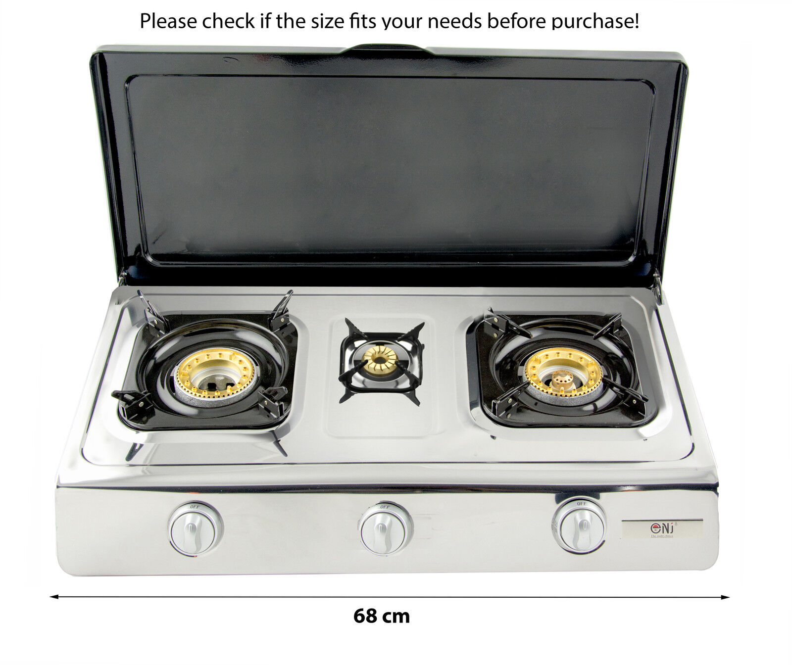 NJ NGB-300C Gas Stove 3 Burner 70cm Lid Portable Camping Outdoor LPG 8kW WOK NEW