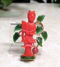 Vintage HATTIE CARNEGIE Faux Jade & Coral Buddha Pin Brooch - RARE FIND!