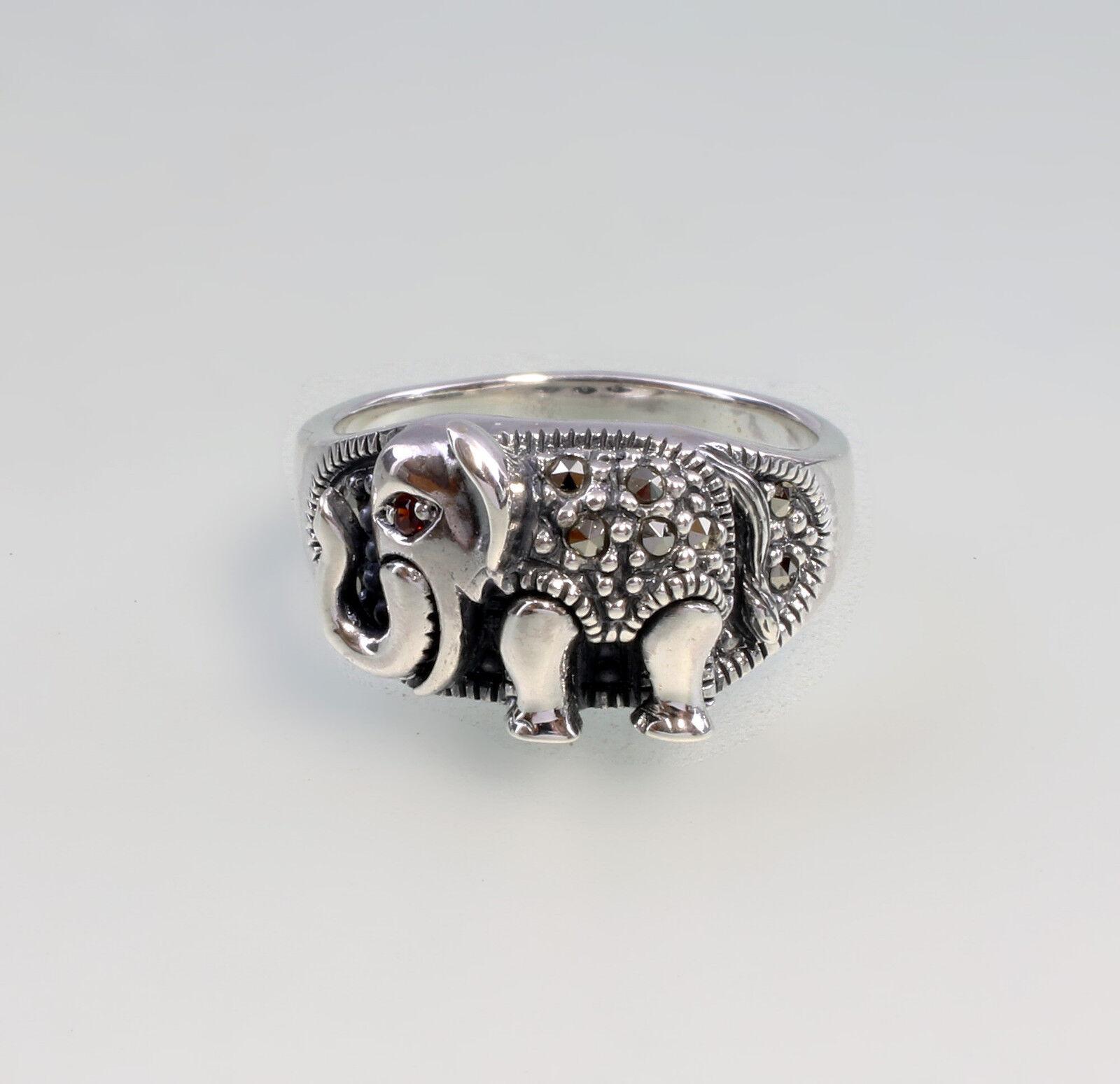 9927111 925er silver Markasit-Ring Elefant Gr.56