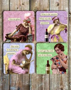Novelty-Drink-Coasters-Set-of-4-Non-Slip-Neoprene