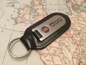 Schlüsselanhänger Accessoires & Fanartikel Zielsetzung Fiat 500 Schlüsselanhänger Geätzte Und Gefüllt Auf Leder Exzellente QualitäT