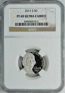 NGC PF 69 ER Ultra Cameo 5c Jefferson Nickel 2007 S