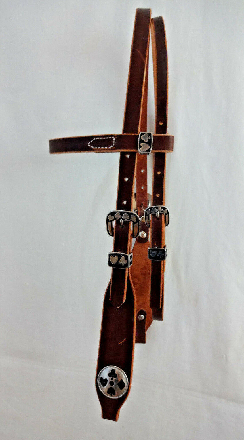 Rich Brown Harness Leather Horse Headstall Wide Jeremiah Watt Card Suit Conchos