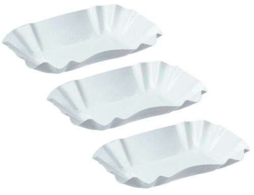 Ku51 Bowl of Chips White 9 x 14 x 3 cm Paper Tray Curry Sausage Takeaway Grill