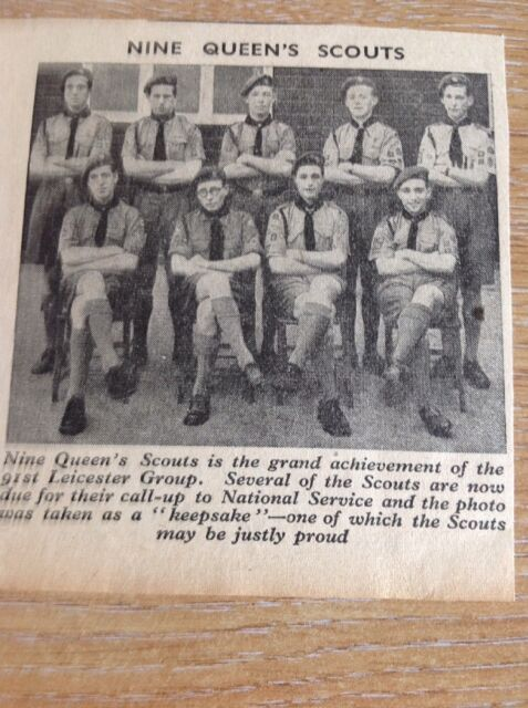 Ephemera 1954 Picture Nine Queen's Scouts 91st Leicester Group Da3