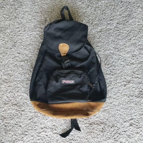 Vintage Jansport Leather Bottom Drawstring Backpac