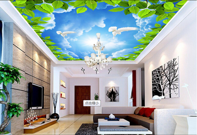 3D Leaf Bird Sky 832 Ceiling WallPaper Murals Wall Print Decal Deco AJ WALLPAPER