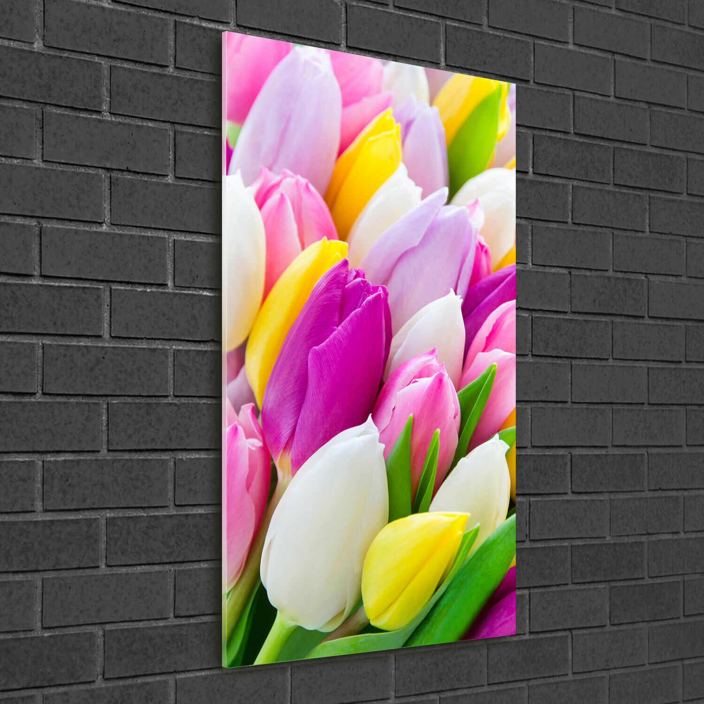 Wand-Bild Kunstdruck aus Acryl-Glas Hochformat 50x100 Bunte Tulpen