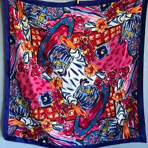 32-034-Vintage-Floral-Fish-Pink-Orange-Blue-Abstract-Artist-Silk-Scarf
