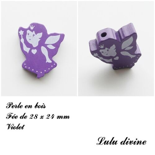 Violet Perle en bois de 28 x 24 mm Perle plate Fée