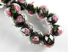 10P Black Rondelle Faceted Glass Crystal Rose Flower Inside Beads 12mm Treasured