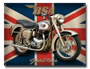 BSA GOLDEN FLASH METAL SIGN - OFFICIALLY LICENSED B.S.A PRODUCT. &™ BSA