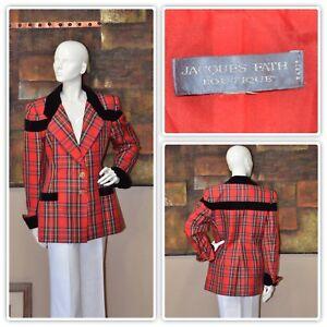 scozzese Fath di Jacques a di trapuntata qualità couture quadri Giacca in seta alta tOqw7A6