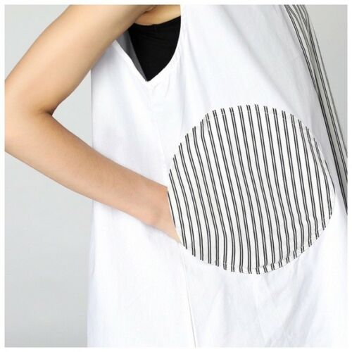 White /& Black Asymmetrical Oversize 3D Stripe Pocket Tunic Blouse Top C20