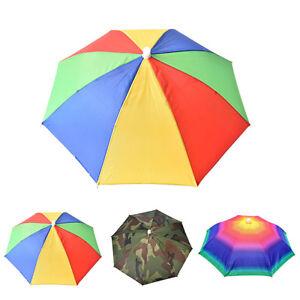 ALS-Headwear-Rainbow-Umbrella-Hat-Cap-Beach-Sun-Rain-Fishing-Camping-Hunting-So