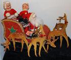 Vintage Christmas SLEIGH REINDEER Glitter Flocked Santa Mrs Claus Display