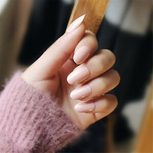 Image Is Loading 24 Pcs Natural Nude French Style Nails Acrylic