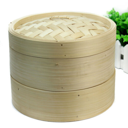 Bambusdämpfer mit 2 Körbe Küchen Bamboo Steamer Set 3-tlg 1 Deckel 20x2 TME
