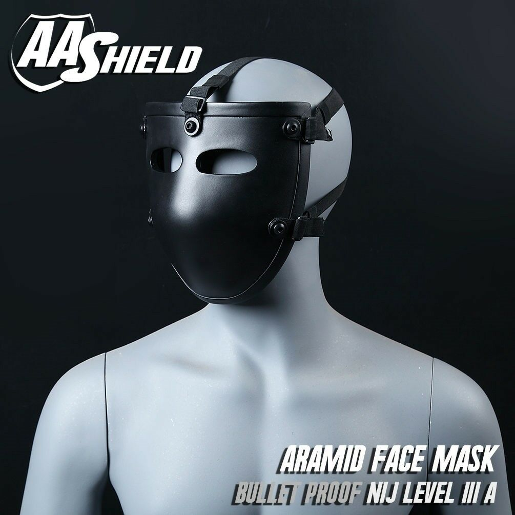 AA Shield Ballistic Visor Mask  Bulletproof Face Shield Aramid Core Lvl IIIA 3A