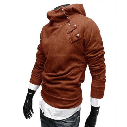 Vogue Solid Color Men Faux Fur High Neck Hooded Sweatshirt Jacket Oblique Zipper