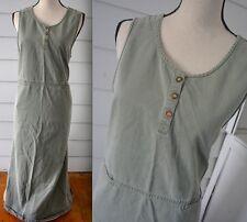 L.L. BEAN Jumper Dress Size 16 XL Green Gray GRANOLA Hippie PEASANT Prairie #bz