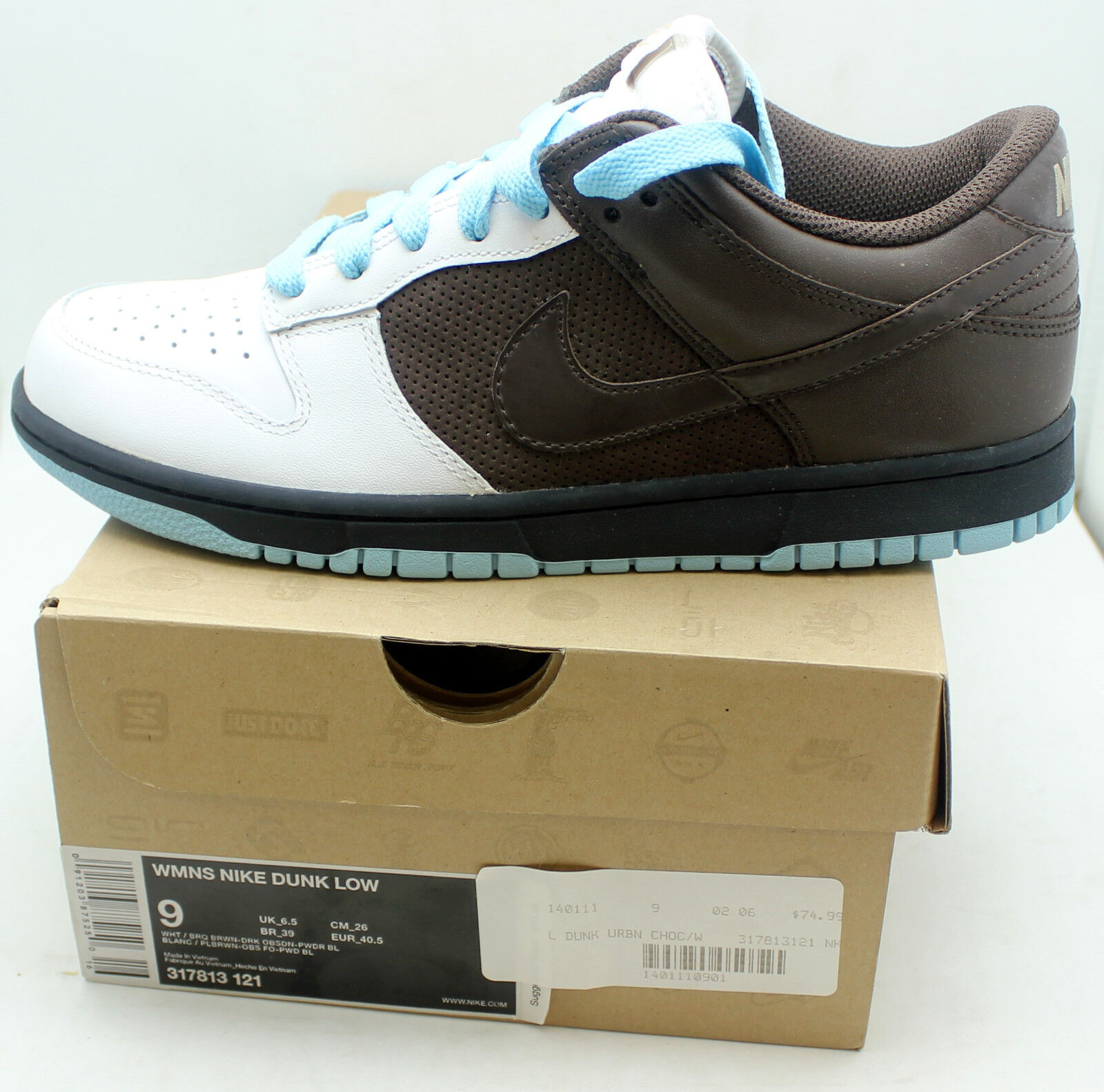 NIB Nike Women's Dunk Low 317813 121 Chocolate Brown/Powder Blue Dead Stock New shoes for men and women, limited time discount