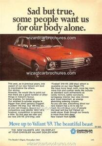 1969 CHRYSLER VALIANT VF SAFARI A3 POSTER AD SALES BROCHURE ADVERTISEMENT ADVERT