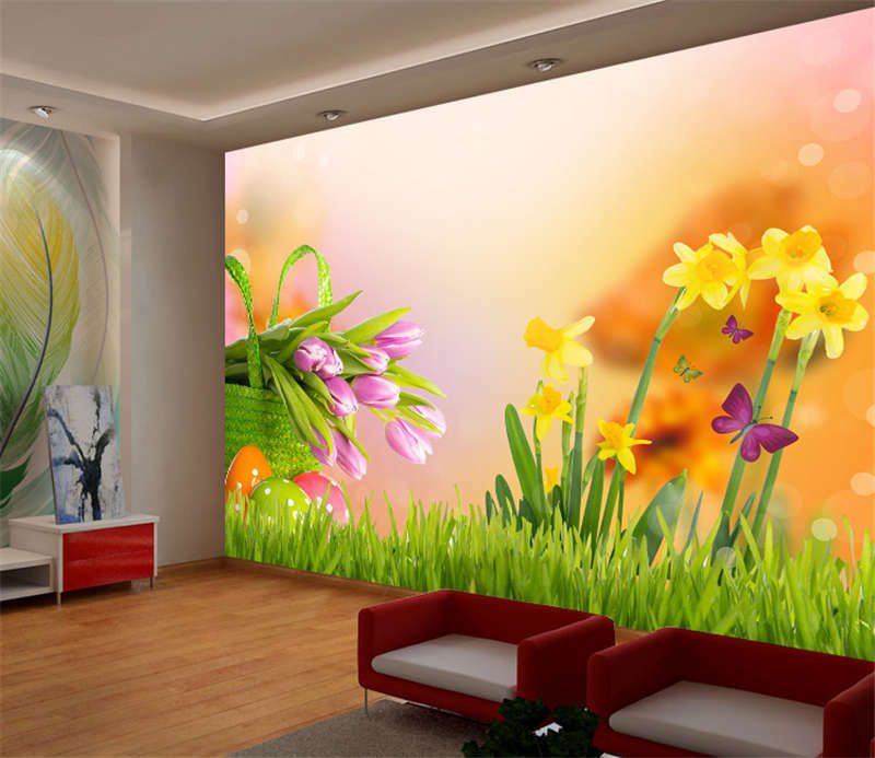 Happy Easter Flower Egg Full Wall Mural Photo Wallpaper Print Kids Home 3D Decal