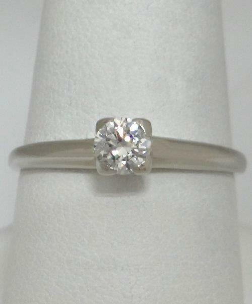 VINTAGE 14K WHITE gold 1 3ct DIAMOND SOLITAIRE ENGAGEMENT RING RHAPSODY 8 3mm