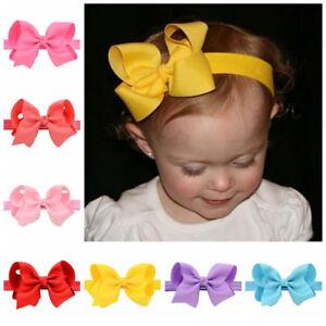 Newborn Baby Girls Toddler Kids Hair Bow Hair Band Headband Grosgrain Ribbon TOC