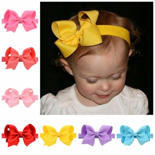 Newborn Baby Girl Toddler Kids Hair Bow Hair Band Headband Grosgrain Ribbon TK