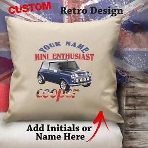 Personalisiert-Mini-Cooper-Blau-Oldtimer-Retro-Kissen-Nach-Kundenwunsch-Leinen