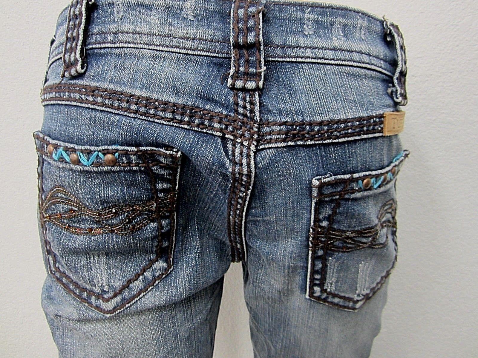 NWOT COWGIRLTUFF Copper Bling Jeans Womens Capri Distressed Stretch Sz 26 x 24