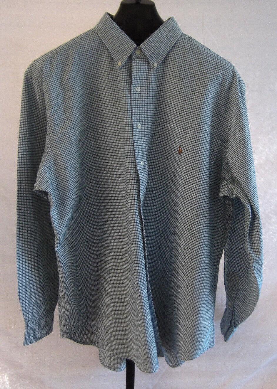 NWT Ralph Lauren Green bluee & White Plaid button LS shirt Mens Size 4X Big