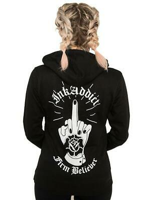 WHITE XSMALL-3XLARGE NEW UNISEX Ink Addict FIRM BELIEVER Pullover Hoodie BLACK