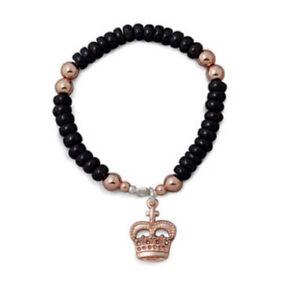 NEW-Von-Treskow-Garnet-Rose-Gold-Plated-Stretchy-Bracelet-With-Crown-Royal-Jan