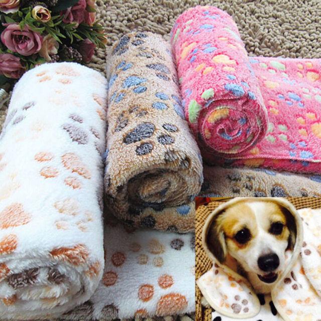 Pet Mat Paw Print Cat Dog Puppy Fleece Winter Warm Soft Home Blanket Bed Mat New