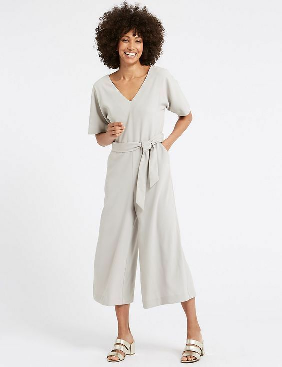 New M&S Collection Light Grey Cropped Kimono Sleeve Jumpsuit Sz & 16