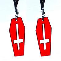 Coffin & Inverted Cross Earrings (red) - Satanic Black Metal Evil Creepy Gothic