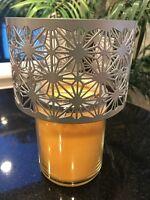 Yankee Candle Coastal Sands Matte Silver Metal Shimmer Medium Large Jar Shades