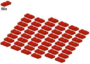 Used-LEGO-Plates-Red-3023-01-1x2-50Stk-Platte-Rot