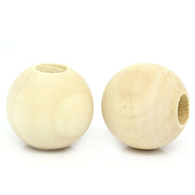 "20 New Wood Spacer Beads Round Ball Natural 25mm Dia.(1"")"