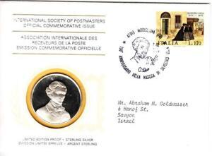 1976 Int'l Society of Postmasters Silvestro Lega Birth 150th anniv. Silver Medal