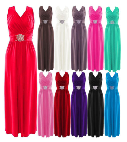 New Womens Ladies Full Length Buckle Maxi Dress Plus Sizes Evening//Party Dress