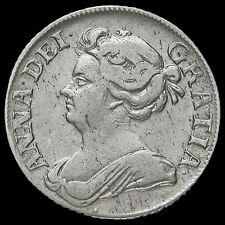 1709 chelín plata de Reina Ana temprano molido, busto de terceros, ángulos Liso