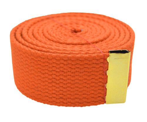 "48/"",54/"",60/"",72/"" /""Plain/"" Gold Slider Canvas Web Belt /& Buckle 25 Color"